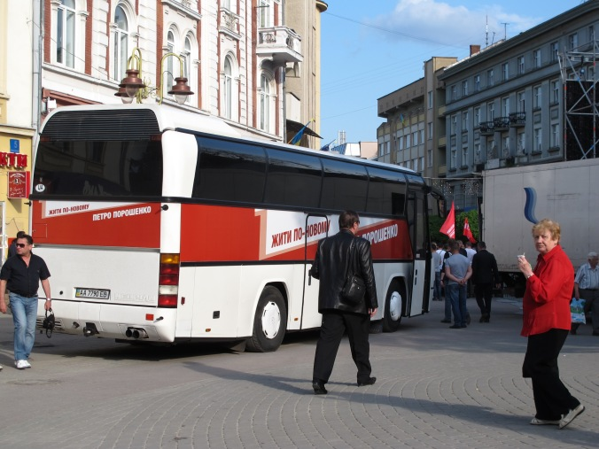 On the road with Poroshenko. Perhaps his own bus manufacturing company made this vehicle?
