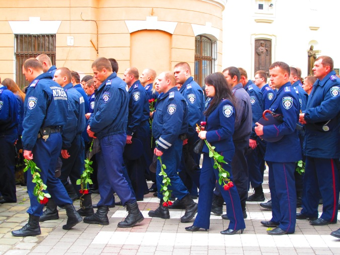Police mourning on 2 June 2014, Ivano-Frankivsk