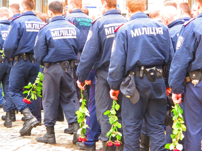 Police mourning their fallen colleagues, 2 June 2014, central Ivano-Frankivsk