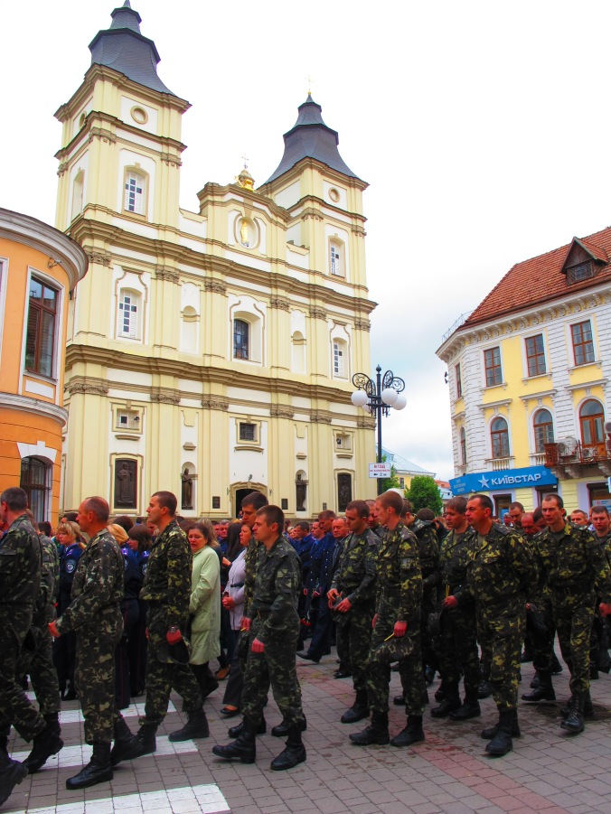 Soldiers in a funeral procession, 2 June 2014, Ivano-Frankivsk