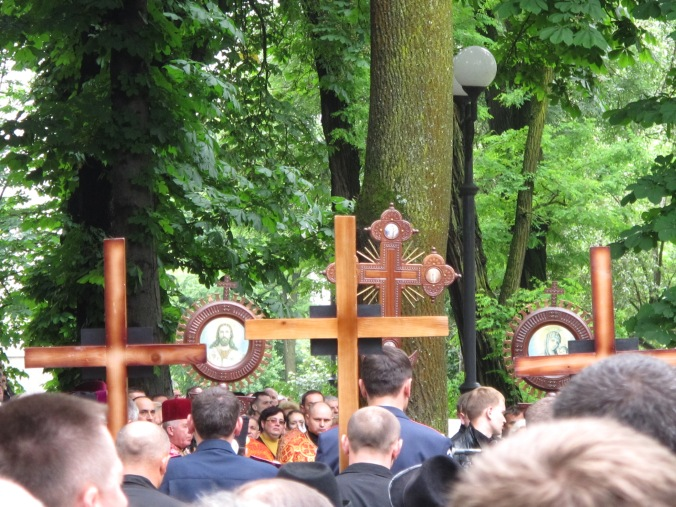 Three crosses for the fallen men, 2 June 2014.